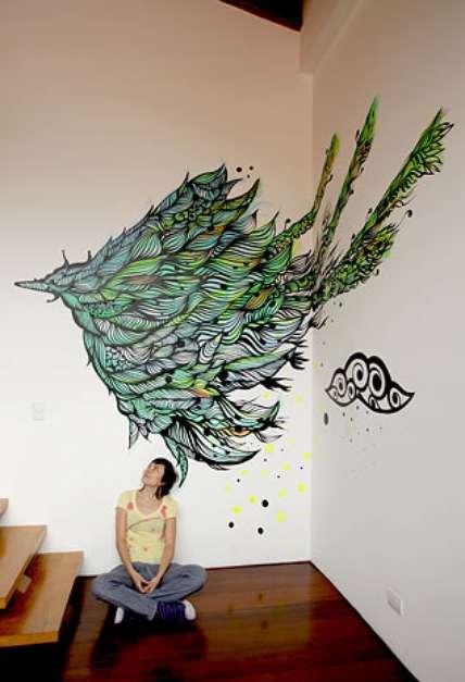 45 Grafite decora paredes de casa; saiba como aproveitar a técnica
