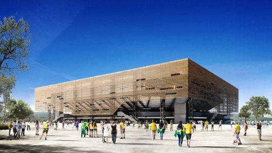 Imagem da maquete eletrônica do projeto para a Arena Olímpica de Handebol e Golbol Rio 2016